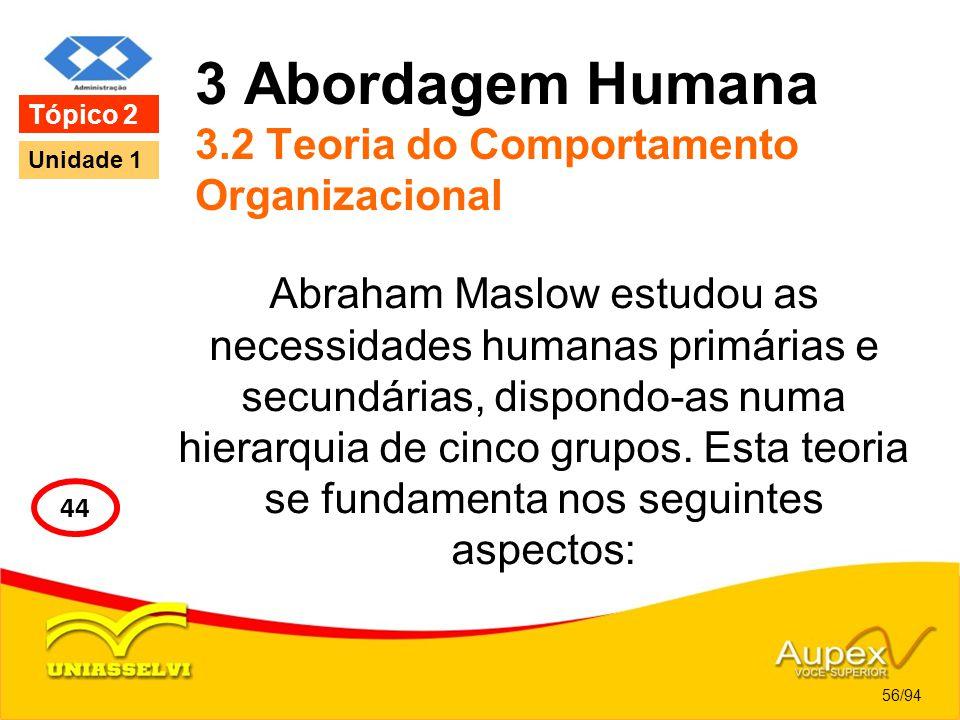 3 Abordagem Humana 3.2 Teoria do Comportamento Organizacional Abraham Maslow estudou as necessidades humanas primárias e secundárias, dispondo-as numa