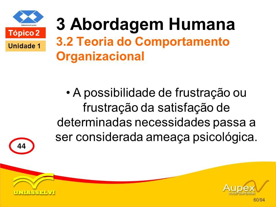 3 Abordagem Humana 3.2 Teoria do Comportamento Organizacional A possibilidade de frustração ou frustração da satisfação de determinadas necessidades p