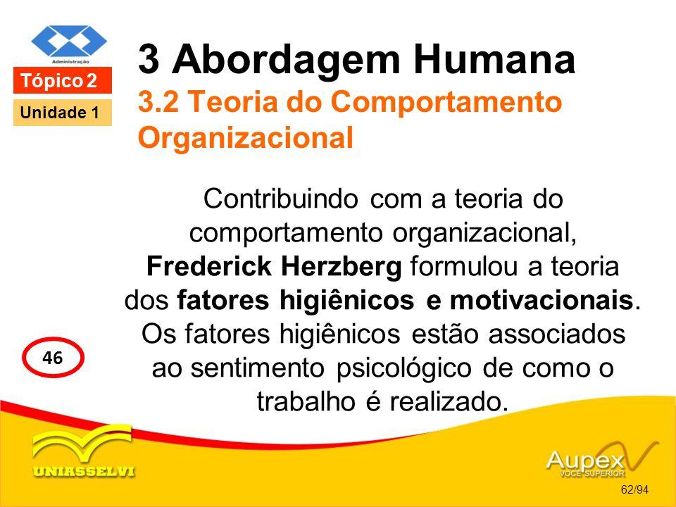 3 Abordagem Humana 3.2 Teoria do Comportamento Organizacional Contribuindo com a teoria do comportamento organizacional, Frederick Herzberg formulou a