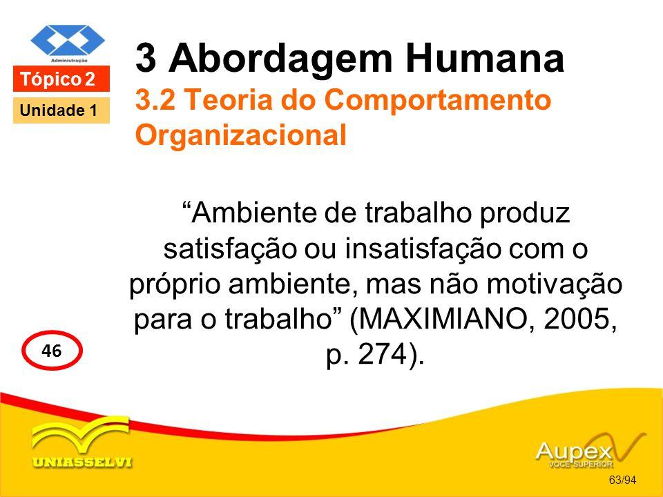 3 Abordagem Humana 3.2 Teoria do Comportamento Organizacional Ambiente de trabalho produz satisfação ou insatisfação com o próprio ambiente, mas não m