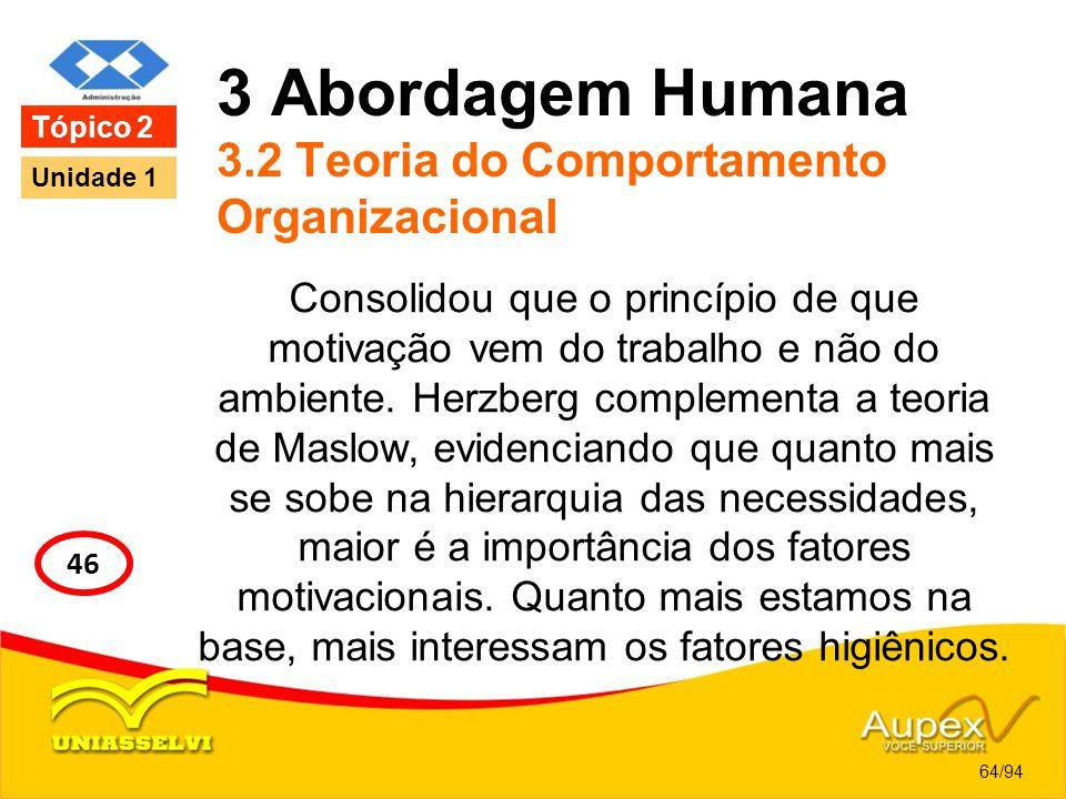 3 Abordagem Humana 3.2 Teoria do Comportamento Organizacional Consolidou que o princípio de que motivação vem do trabalho e não do ambiente. Herzberg