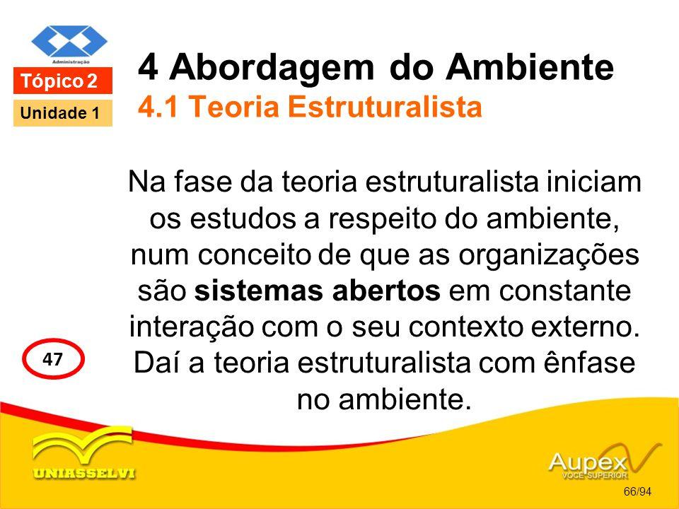 4 Abordagem do Ambiente 4.1 Teoria Estruturalista Na fase da teoria estruturalista iniciam os estudos a respeito do ambiente, num conceito de que as o