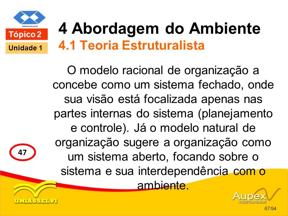 4 Abordagem do Ambiente 4.1 Teoria Estruturalista O modelo racional de organização a concebe como um sistema fechado, onde sua visão está focalizada a