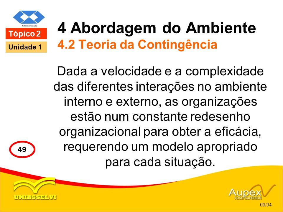 4 Abordagem do Ambiente 4.2 Teoria da Contingência Dada a velocidade e a complexidade das diferentes interações no ambiente interno e externo, as orga