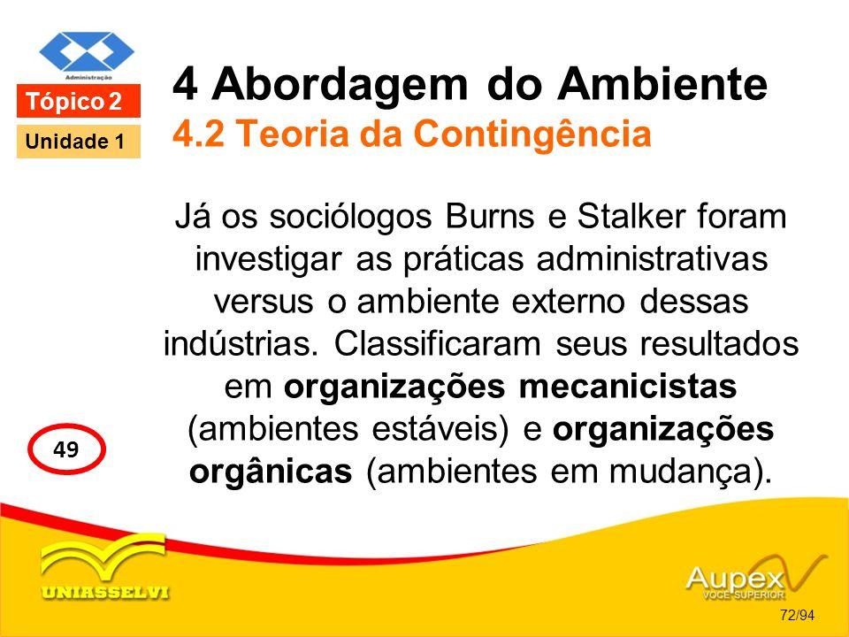 4 Abordagem do Ambiente 4.2 Teoria da Contingência Já os sociólogos Burns e Stalker foram investigar as práticas administrativas versus o ambiente ext