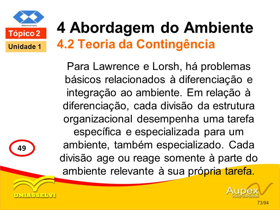 4 Abordagem do Ambiente 4.2 Teoria da Contingência Para Lawrence e Lorsh, há problemas básicos relacionados à diferenciação e integração ao ambiente.
