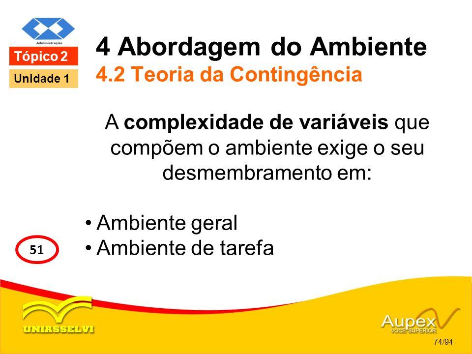 4 Abordagem do Ambiente 4.2 Teoria da Contingência A complexidade de variáveis que compõem o ambiente exige o seu desmembramento em: Ambiente geral Am