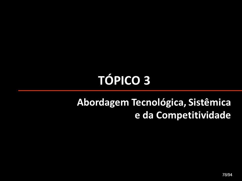 TÓPICO 3 78/94 Abordagem Tecnológica, Sistêmica e da Competitividade
