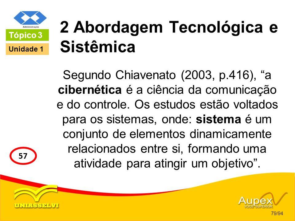2 Abordagem Tecnológica e Sistêmica Segundo Chiavenato (2003, p.416), a cibernética é a ciência da comunicação e do controle. Os estudos estão voltado