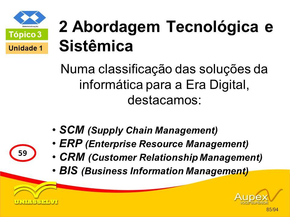 2 Abordagem Tecnológica e Sistêmica Numa classificação das soluções da informática para a Era Digital, destacamos: SCM (Supply Chain Management) ERP (