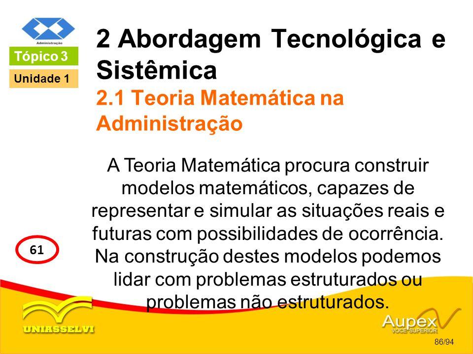 2 Abordagem Tecnológica e Sistêmica 2.1 Teoria Matemática na Administração A Teoria Matemática procura construir modelos matemáticos, capazes de repre