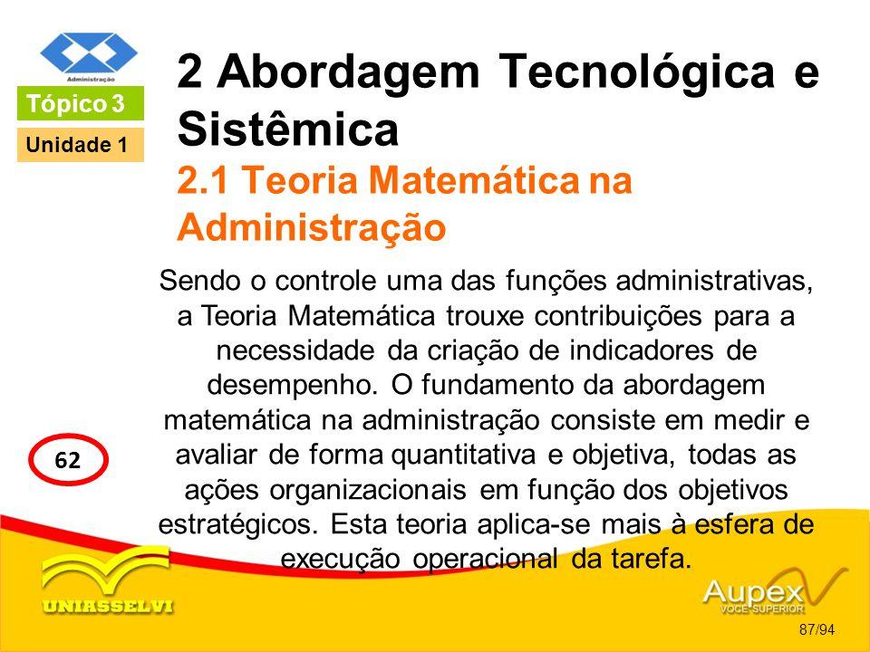 2 Abordagem Tecnológica e Sistêmica 2.1 Teoria Matemática na Administração Sendo o controle uma das funções administrativas, a Teoria Matemática troux