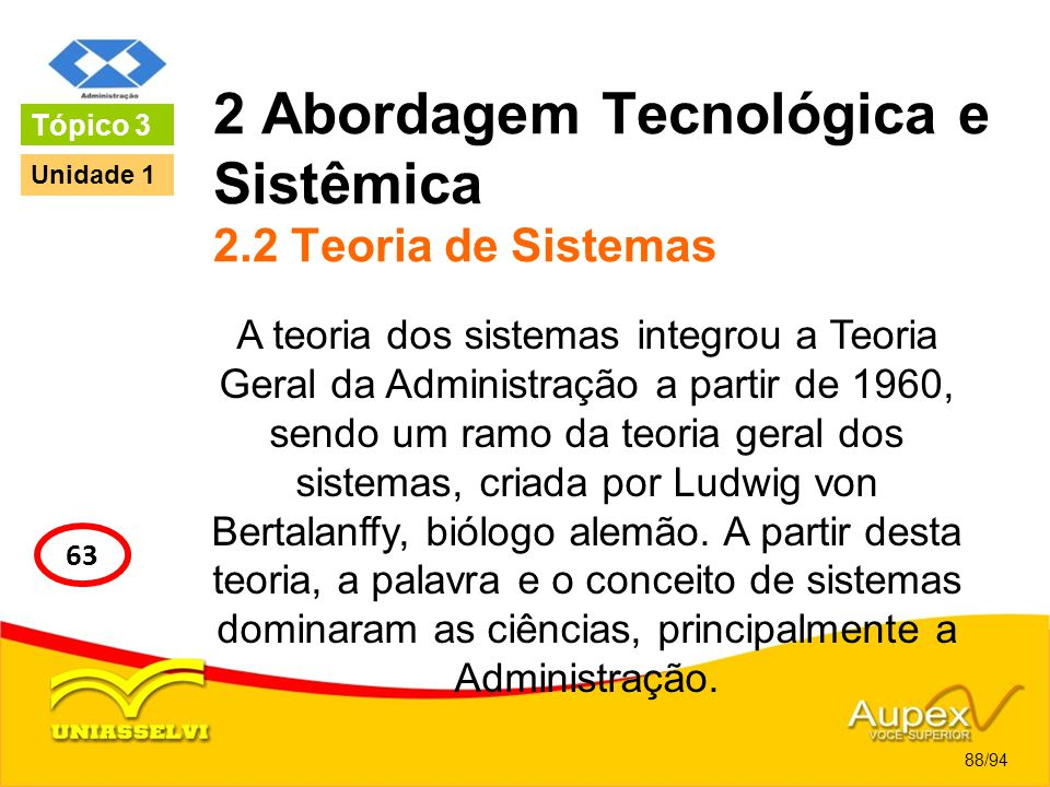 2 Abordagem Tecnológica e Sistêmica 2.2 Teoria de Sistemas A teoria dos sistemas integrou a Teoria Geral da Administração a partir de 1960, sendo um r