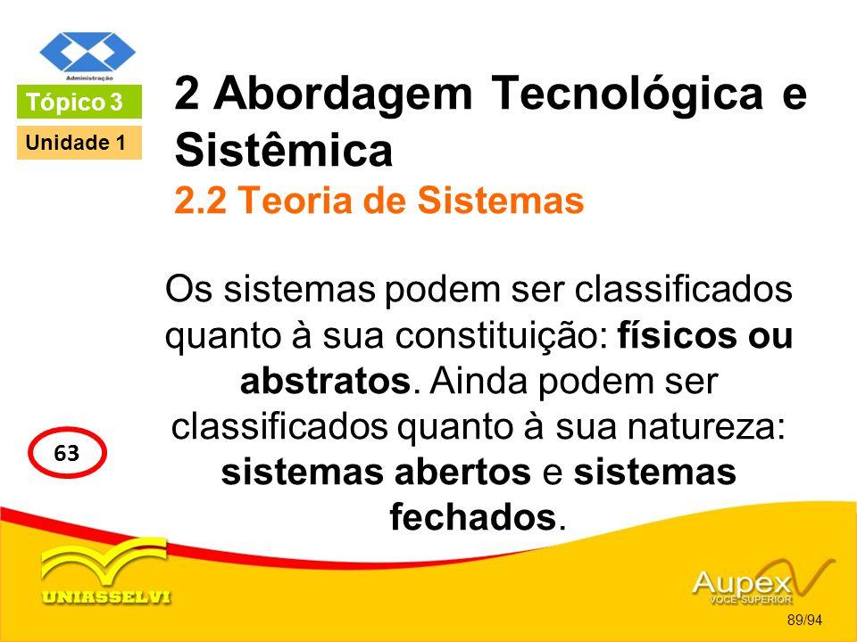 2 Abordagem Tecnológica e Sistêmica 2.2 Teoria de Sistemas Os sistemas podem ser classificados quanto à sua constituição: físicos ou abstratos. Ainda