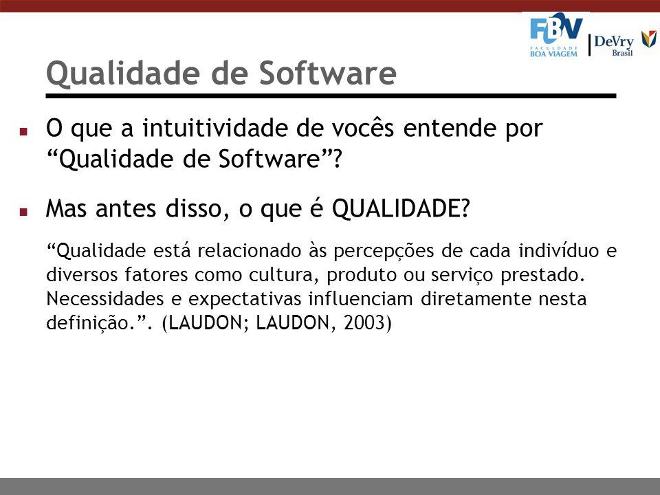 Qualidade de Software n O que a intuitividade de vocês entende por Qualidade de Software? n Mas antes disso, o que é QUALIDADE? Qualidade está relacio