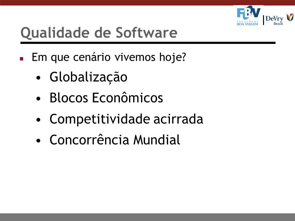 Qualidade de Software n Em que cenário vivemos hoje? Globalização Blocos Econômicos Competitividade acirrada Concorrência Mundial