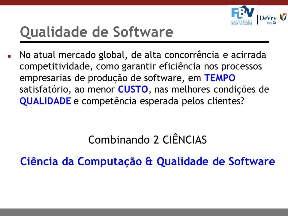 Qualidade de Software n No atual mercado global, de alta concorrência e acirrada competitividade, como garantir eficiência nos processos empresarias d