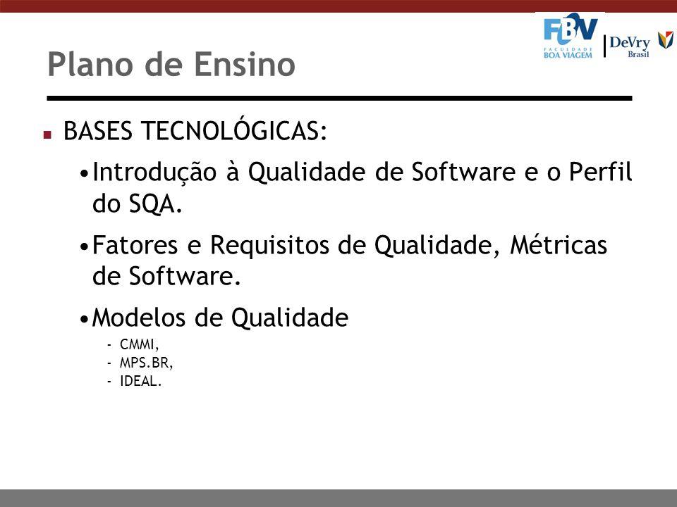 Plano de Ensino n BASES TECNOLÓGICAS: Introdução à Qualidade de Software e o Perfil do SQA. Fatores e Requisitos de Qualidade, Métricas de Software. M