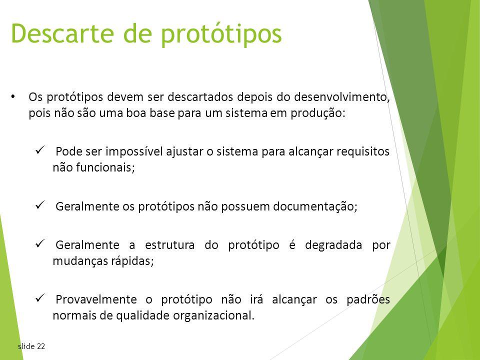 slide 22 Descarte de protótipos Os protótipos devem ser descartados depois do desenvolvimento, pois não são uma boa base para um sistema em produção: Pode ser impossível ajustar o sistema para alcançar requisitos não funcionais; Geralmente os protótipos não possuem documentação; Geralmente a estrutura do protótipo é degradada por mudanças rápidas; Provavelmente o protótipo não irá alcançar os padrões normais de qualidade organizacional.22 Chapter 2 Software ProcessesChapter 2 Software Processes