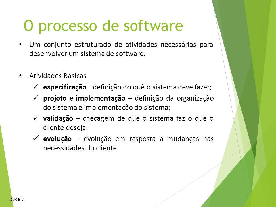 slide 3 O processo de software Um conjunto estruturado de atividades necessárias para desenvolver um sistema de software.