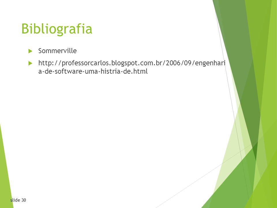 slide 30 Bibliografia Sommerville http://professorcarlos.blogspot.com.br/2006/09/engenhari a-de-software-uma-histria-de.html