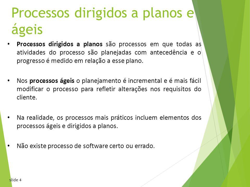 slide 4 Processos dirigidos a planos e ágeis Processos dirigidos a planos são processos em que todas as atividades do processo são planejadas com antecedência e o progresso é medido em relação a esse plano.
