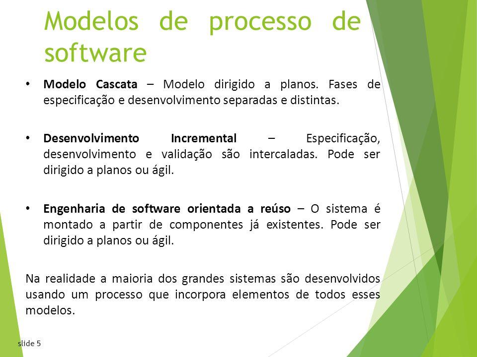 slide 5 Modelos de processo de software Modelo Cascata – Modelo dirigido a planos.