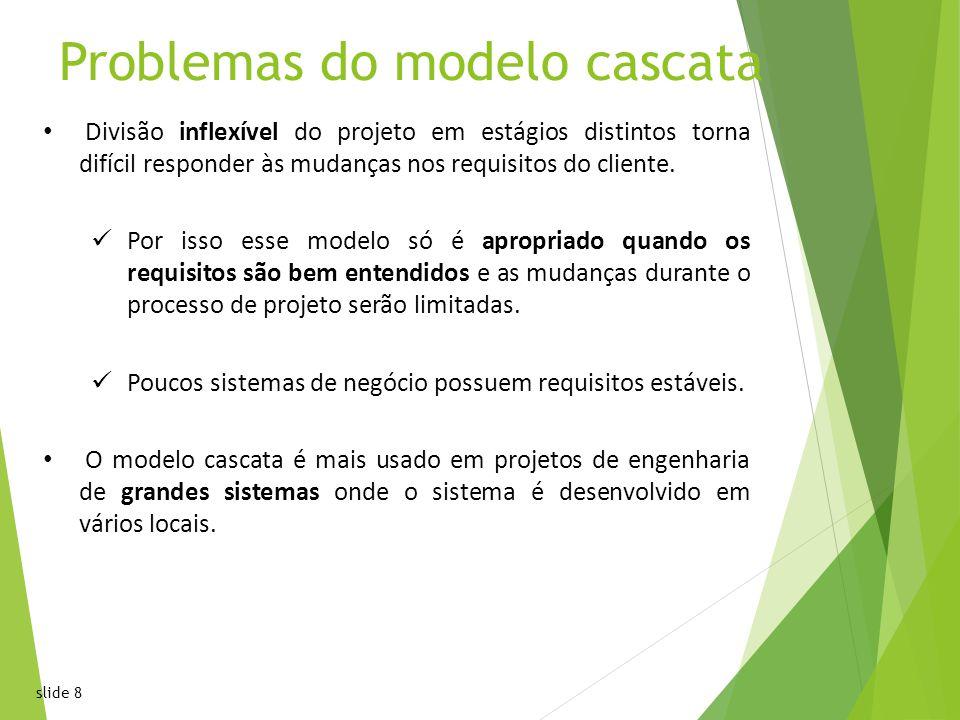 slide 8 Problemas do modelo cascata Divisão inflexível do projeto em estágios distintos torna difícil responder às mudanças nos requisitos do cliente.