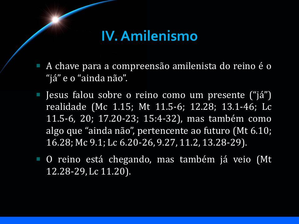 IV. Amilenismo A chave para a compreensão amilenista do reino é o já e o ainda não. Jesus falou sobre o reino como um presente (já) realidade (Mc 1.15