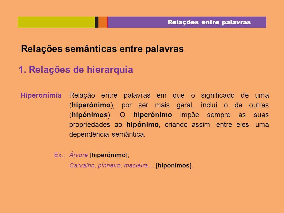 Relações semânticas entre palavras 1. Relações de hierarquia Hiperonímia Relação entre palavras em que o significado de uma (hiperónimo), por ser mais