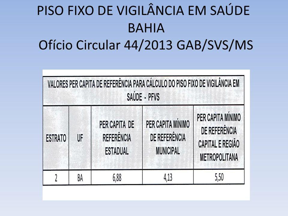 PISO FIXO DE VIGILÂNCIA EM SAÚDE BAHIA Ofício Circular 44/2013 GAB/SVS/MS