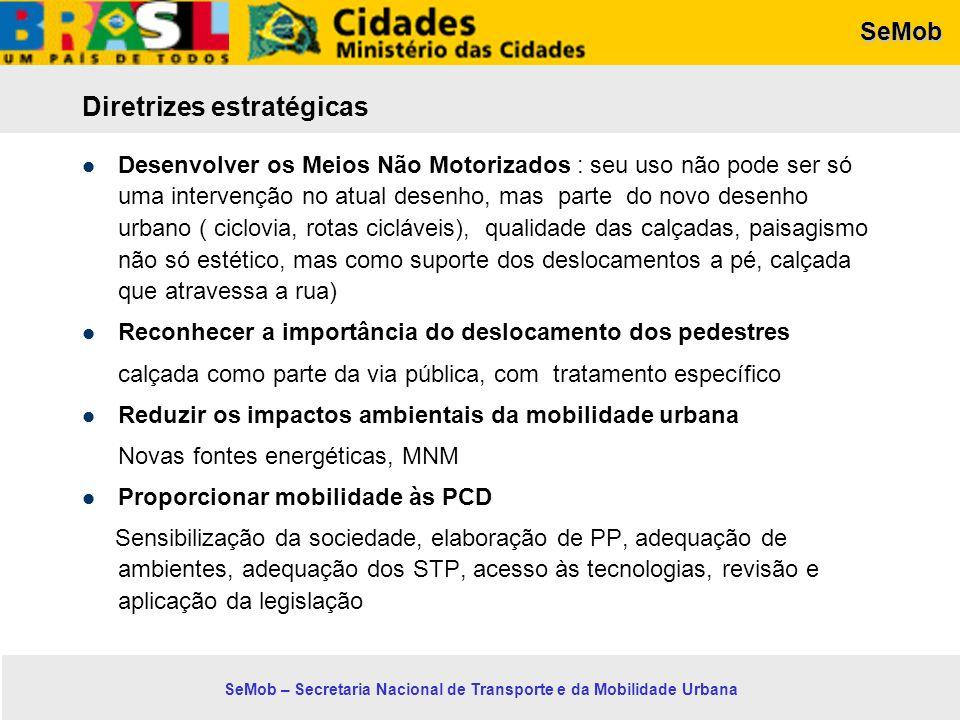 SeMob SeMob – Secretaria Nacional de Transporte e da Mobilidade Urbana Diretrizes estratégicas Desenvolver os Meios Não Motorizados : seu uso não pode