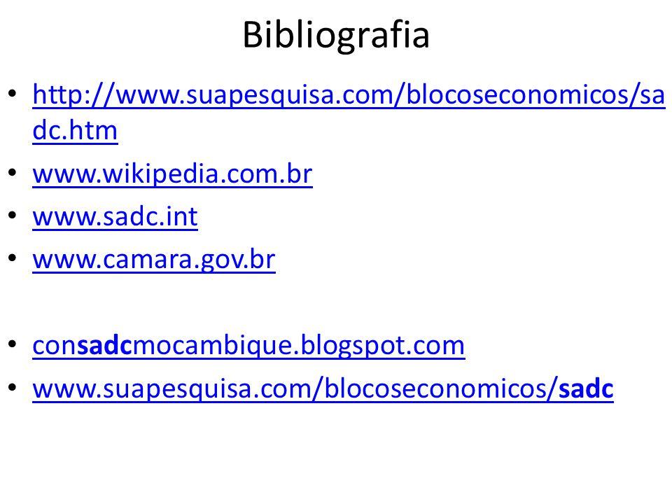 Bibliografia http://www.suapesquisa.com/blocoseconomicos/sa dc.htm http://www.suapesquisa.com/blocoseconomicos/sa dc.htm www.wikipedia.com.br www.sadc.int www.camara.gov.br consadcmocambique.blogspot.com consadcmocambique.blogspot.com www.suapesquisa.com/blocoseconomicos/sadc www.suapesquisa.com/blocoseconomicos/sadc