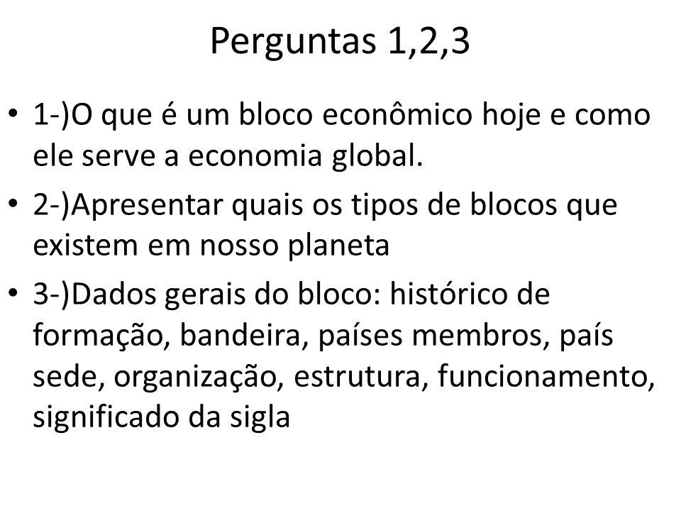 Perguntas 1,2,3 1-)O que é um bloco econômico hoje e como ele serve a economia global.