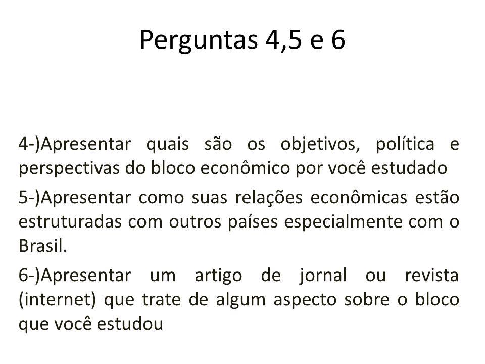 Perguntas 4,5 e 6 4-)Apresentar quais são os objetivos, política e perspectivas do bloco econômico por você estudado 5-)Apresentar como suas relações econômicas estão estruturadas com outros países especialmente com o Brasil.