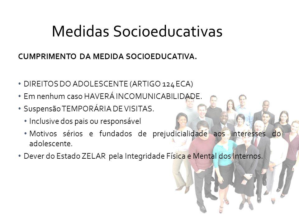 CUMPRIMENTO DA MEDIDA SOCIOEDUCATIVA. DIREITOS DO ADOLESCENTE (ARTIGO 124 ECA) Em nenhum caso HAVERÁ INCOMUNICABILIDADE. Suspensão TEMPORÁRIA DE VISIT