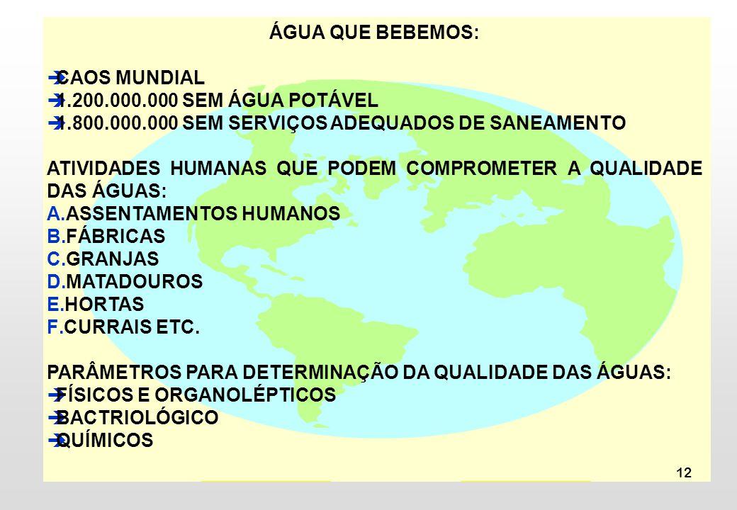 12 ÁGUA QUE BEBEMOS: CAOS MUNDIAL 1.200.000.000 SEM ÁGUA POTÁVEL 1.800.000.000 SEM SERVIÇOS ADEQUADOS DE SANEAMENTO ATIVIDADES HUMANAS QUE PODEM COMPROMETER A QUALIDADE DAS ÁGUAS: A.ASSENTAMENTOS HUMANOS B.FÁBRICAS C.GRANJAS D.MATADOUROS E.HORTAS F.CURRAIS ETC.