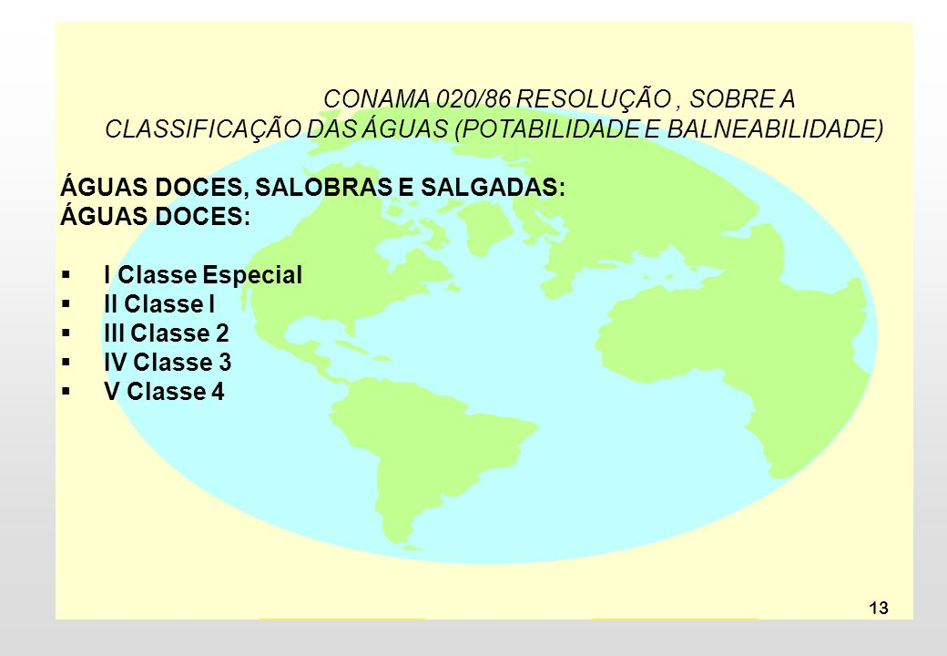 13 CONAMA 020/86 RESOLUÇÃO, SOBRE A CLASSIFICAÇÃO DAS ÁGUAS (POTABILIDADE E BALNEABILIDADE) ÁGUAS DOCES, SALOBRAS E SALGADAS: ÁGUAS DOCES: I Classe Es