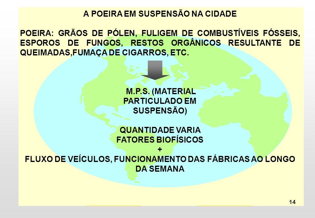 14 A POEIRA EM SUSPENSÃO NA CIDADE POEIRA: GRÃOS DE PÓLEN, FULIGEM DE COMBUSTÍVEIS FÓSSEIS, ESPOROS DE FUNGOS, RESTOS ORGÂNICOS RESULTANTE DE QUEIMADA