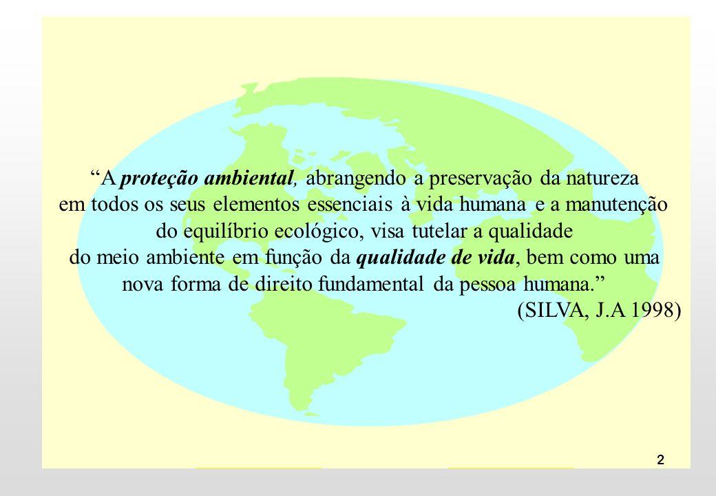 2 A proteção ambiental, abrangendo a preservação da natureza em todos os seus elementos essenciais à vida humana e a manutenção do equilíbrio ecológic