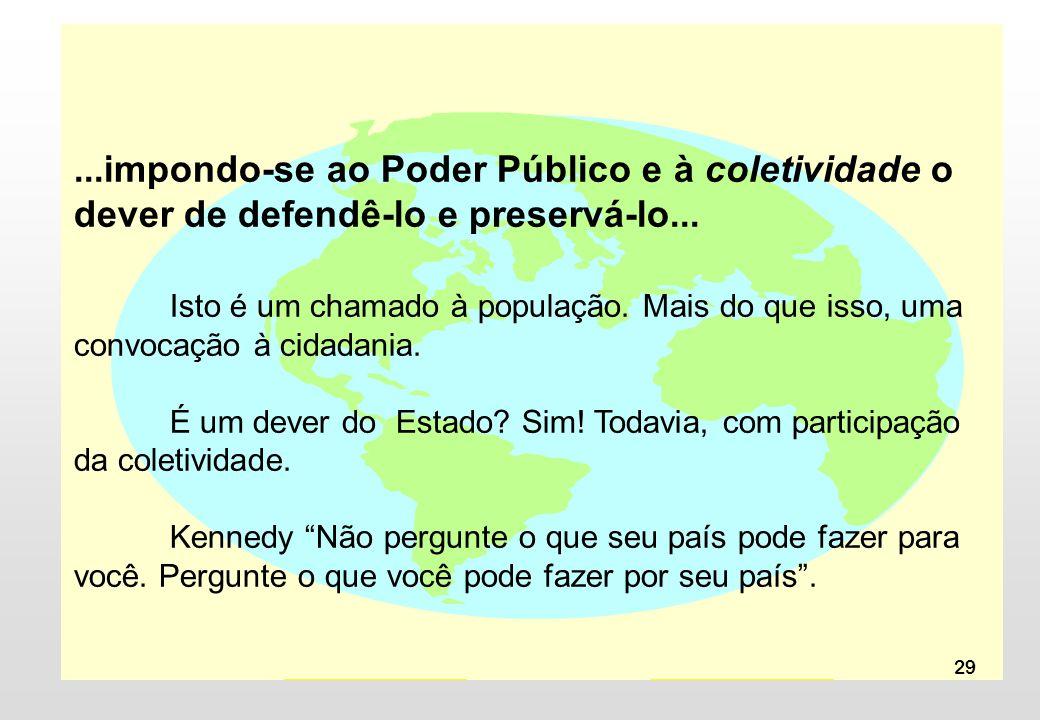 29...impondo-se ao Poder Público e à coletividade o dever de defendê-lo e preservá-lo... Isto é um chamado à população. Mais do que isso, uma convocaç