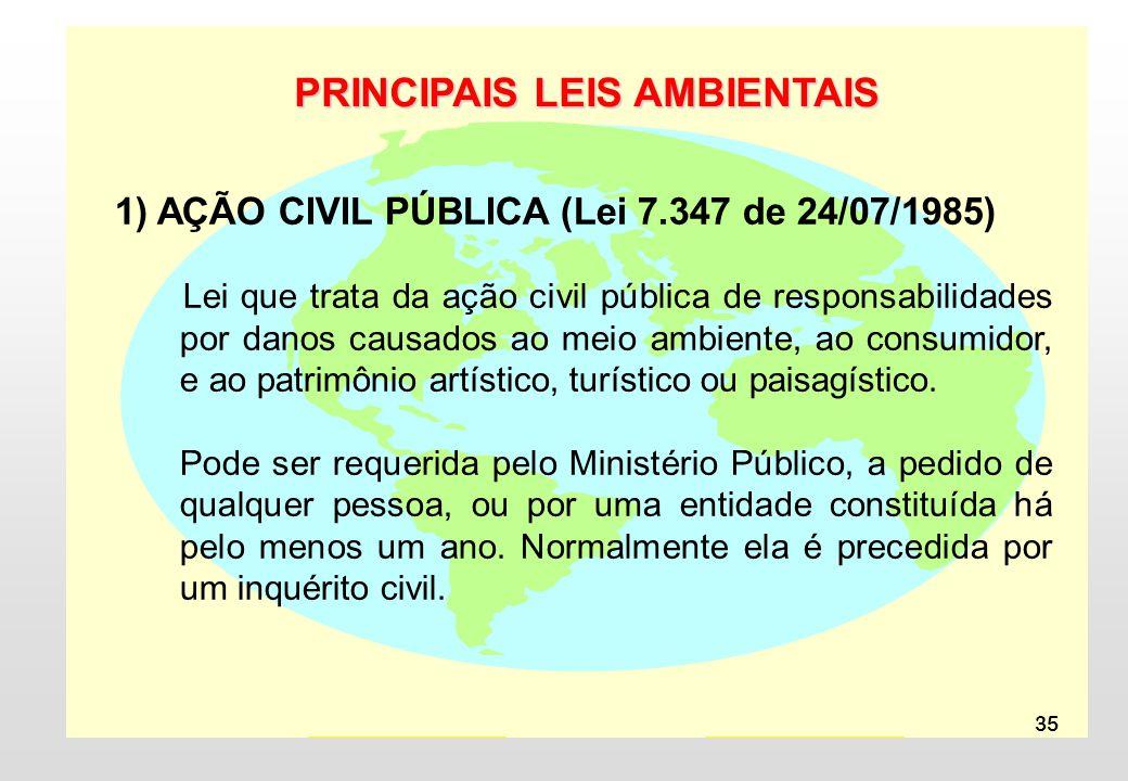 35 PRINCIPAIS LEIS AMBIENTAIS 1) AÇÃO CIVIL PÚBLICA (Lei 7.347 de 24/07/1985) Lei que trata da ação civil pública de responsabilidades por danos causados ao meio ambiente, ao consumidor, e ao patrimônio artístico, turístico ou paisagístico.