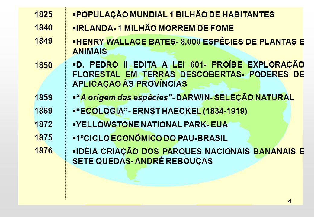 4 POPULAÇÃO MUNDIAL 1 BILHÃO DE HABITANTES IRLANDA- 1 MILHÃO MORREM DE FOME HENRY WALLACE BATES- 8.000 ESPÉCIES DE PLANTAS E ANIMAIS D. PEDRO II EDITA