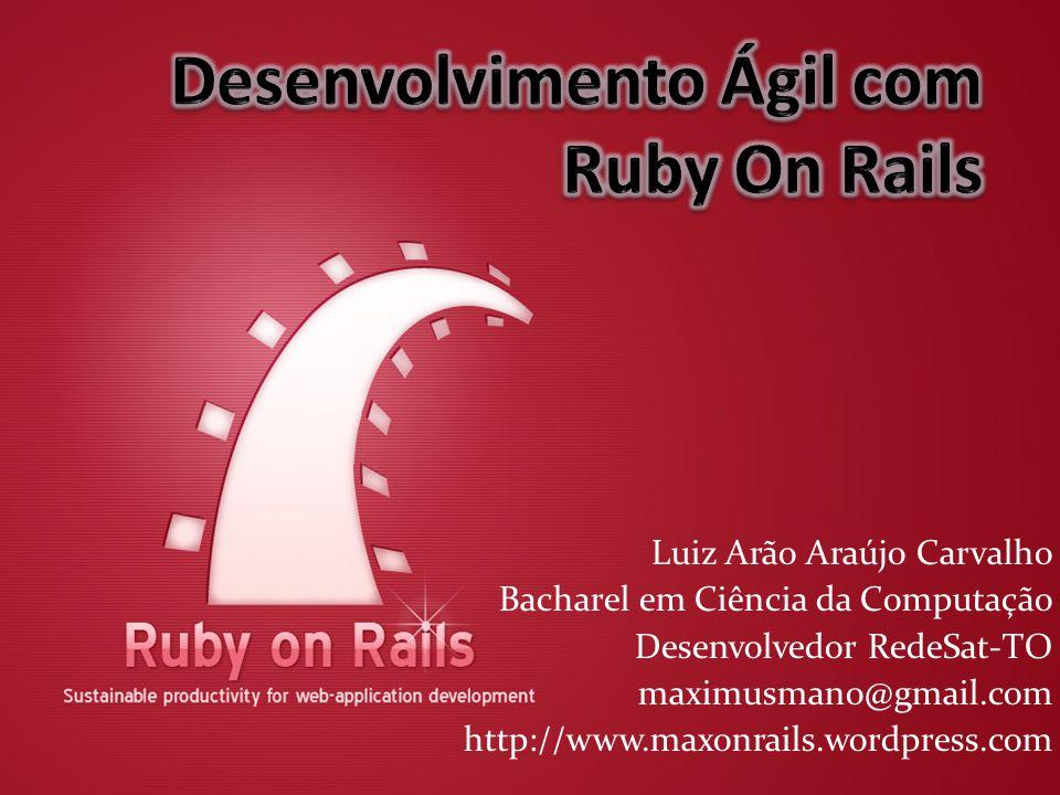 Luiz Arão Araújo Carvalho Bacharel em Ciência da Computação Desenvolvedor RedeSat-TO maximusmano@gmail.com http://www.maxonrails.wordpress.com