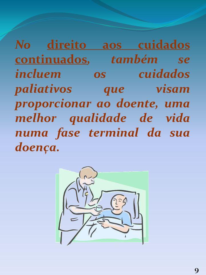 8 4. Prestação de cuidados continuados O doente tem direito à prestação de cuidados continuados, especialmente em períodos de convalescença ou de recu