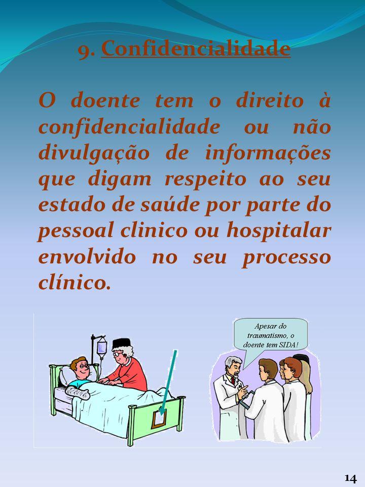 13 8. Consentimento livre e esclarecido O doente tem direito a dar ou recusar o seu consentimento, antes de qualquer ato médico ou antes da participaç