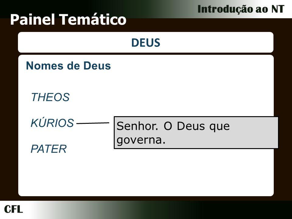 CFL Introdução ao NT Painel Temático DEUS Nomes de Deus THEOS KÚRIOS PATER Senhor.