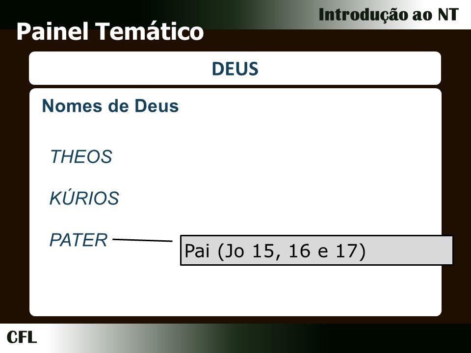 CFL Introdução ao NT Painel Temático DEUS Nomes de Deus THEOS KÚRIOS PATER Pai (Jo 15, 16 e 17)