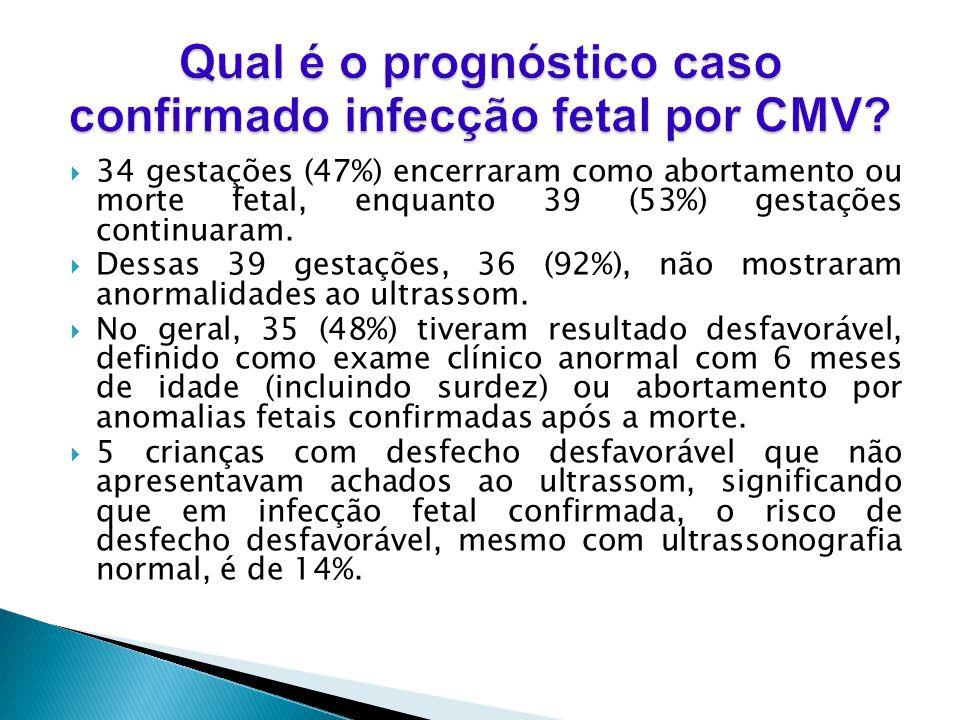 34 gestações (47%) encerraram como abortamento ou morte fetal, enquanto 39 (53%) gestações continuaram.