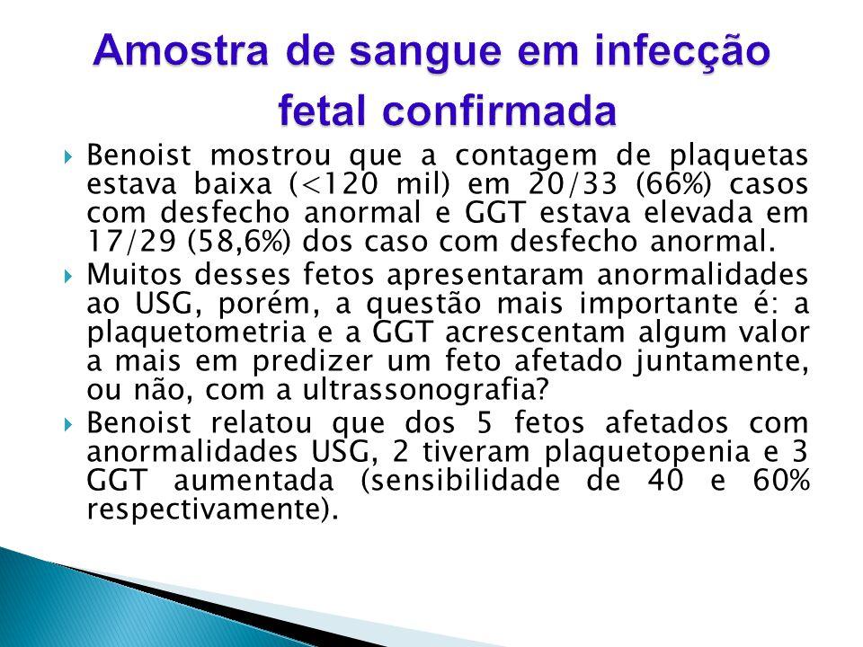 Benoist mostrou que a contagem de plaquetas estava baixa (<120 mil) em 20/33 (66%) casos com desfecho anormal e GGT estava elevada em 17/29 (58,6%) dos caso com desfecho anormal.